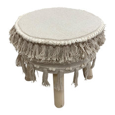 Ivory Textured And Fringed Bohemian Stool