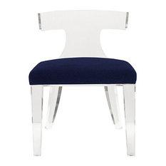 Worlds Away Duke Klismos Chair Navy Velvet