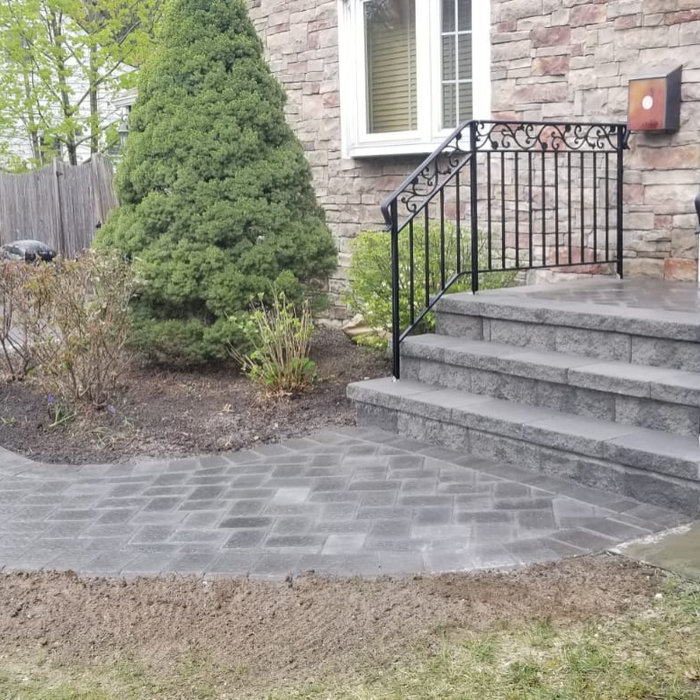 Newly installed paver walkway with beautiful steps