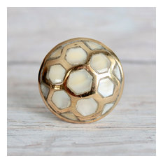 Pearl Drawer Knobs with Mother of Pearl inlay and Gold Details