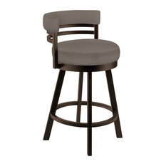 "Becky 26"" Counter Height Swivel Barstool, Faux Leather, Capuccino"