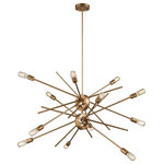 Elk Lighting - Xenia 12 Light Chandelier in Matte Gold - These fixtures showcase a unique linear design with unequal length arms that pass through the fixture�s central connection. The metal arms can be easily adjusted from a near parallel position to a loosely gathered look.