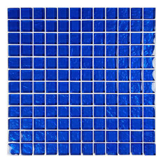 "12""x12"" Galaxy Series Glass Tile Mosaic, Cobalt Blue"