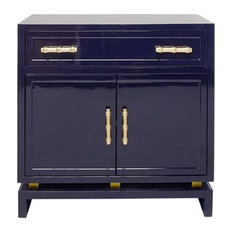 Worlds Away - Worlds Away Marcus Cabinet, Navy Blue - Accent Chests and Cabinets