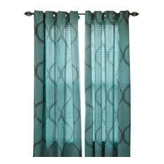 "Lavish Home Metallic Grommet Curtain Panels 84"", Jade"