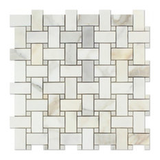 "12""x12"" Gold Italian Calcutta Marble Honed Basketweave Mosaic Tiles, Set of 5"