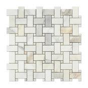 "12""x12"" Gold Italian Calcutta Marble Honed Basketweave Mosaic Tiles, Set of 5"