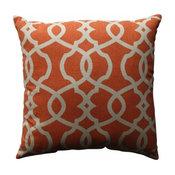"Lattice Damask Blue 18"" Throw Pillow, Tangerine"