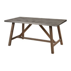 Rectangular Kitchen And Dining Table In Natural Wood Concrete Finish With