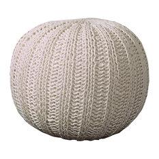 """Arey Isle Bone Knitted Pouf Ottoman, 16""""x20"""""""