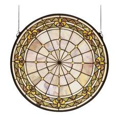 "Meyda 21""x21"" Fleur-De-Lis Medallion Stained Glass Window"