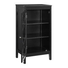 Wooden Standard Accent Cabinet With 1 Door Black