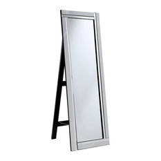 "Elegant Furniture & Lighting - Modern 17.8"" Contemporary Mirror, Clear - Floor Mirrors"