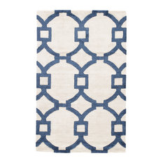Jaipur Living Regency Handmade Trellis White/Dark Blue Area Rug, 8'x11'