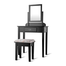 Costway Vanity Dressing Table Set W/Square Mirror Stool 1 Large Drawer Black