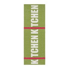 Kitchen Woven Vinyl Floor Cloth, Green, 70x100 cm