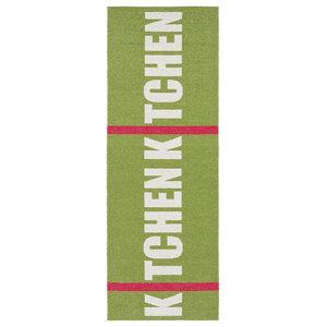 Kitchen Woven Vinyl Floor Cloth, Green, 70x150 cm