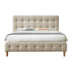Omax Decor Hugo Upholstered Platform Bed, Beige