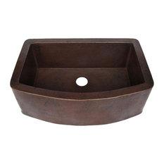 Redondeado Copper Curved Single Kitchen Sink