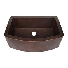 Redondeado Copper Curved Single Kitchen Sink