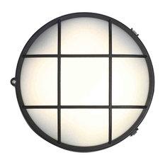 Stanley Rogen Outdoor Round LED Bulkhead Wall or Ceiling Light, Black