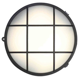 Stanley Rogen Outdoor Round LED Bulkhead Wall or Ceiling Light, Black