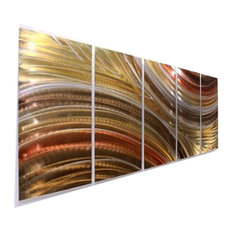 "Gold and Bronze Earthtone Metal Wall Art Sculpture - ""Autumn Passion"", 64""x24"""