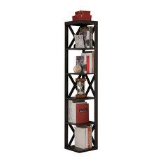 Espresso Finish Wood Wall Corner 5 Tier Bookshelf Display Stand