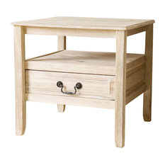 GDFStudio   Noah Wood Short Drawer End Table, Off White   Side Tables And