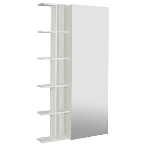 Wall-Mounted Shoe Cabinet With Mirrored Door and Side Shelf