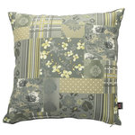Yorkshire Fabric Shop - Vanessa Scatter Cushion, Dark Grey, 55x55 Cm - The patchwork design of the Venessa Scatter Cushion, featuring striped, tartan, dotted and floral patterns, offers a decorative look that has something for everyone. In contrast to the busy front, the reverse comes in a solid dark grey colour. The soft body and mixed styles of this piece are a welcome addition to any bed or sofa. This piece measures 55 by 55 centimetres. From deep within the UK, the family-run Yorkshire Fabric Shop produces upholstery fabrics and a wide range of cushions for homes across the world.