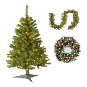 "4' Fir Grande Wrapped Tree,Norwood Fir Garland,24"" Crestwood Spruce Wreath"