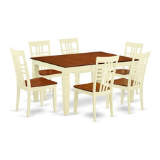 7-Piece Kitchen Table Set With A Dinning Table And 6 Wood Chairs Buttermilk