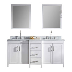 "Ariel Hollandale 73"" Double Sink Bathroom Vanity Set, White"