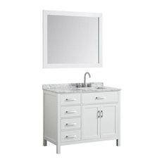 "Hampton 43"" Bath Vanity, White With Marble Top, Carrara White Basin/Mirror"