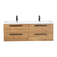 "Eviva Surf 57"" Bathroom Vanity, Natural Oak"