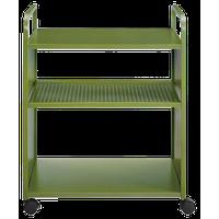 Novogratz Aubrie 3-Shelf Rolling Cart, Olive Green