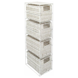 Traditional Drawer Storage Unit with White Metal Frame and 4 Wicker Drawers