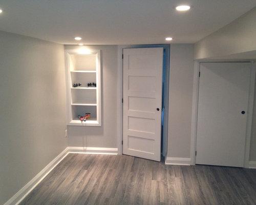 Modern Grey Laminate Flooring Basement Design Ideas Renovations Photos