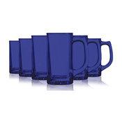 Cobalt Blue Sport Mug Glasses Fully Colored, 13 oz. Set of 6