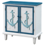 Coast to Coast - Coast to Coast Two Door Cabinet - Add a smile to your décor with this precious Two Door Cabinet finished in a distressed blue and white, and with anchors delightfully highlighting the two door facings.  With a shelved interior for storage and a spacious top for display, this Cabinet is the perfect size and choice for your kitchen, bath or playroom.
