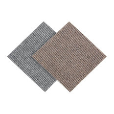 "FlooringInc - 12""x12"" Berber Carpet Tiles, Set of 20, Smoke - Carpet Tiles"