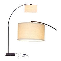 Brightech Logan - Contemporary Arc Floor Lamp w. Marble Base, Classic Black