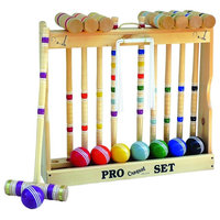 """Maple Hardwood Croquet Set With Caddy, 8-Player, 32"""" Handle"""