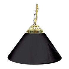"Single Shade Gameroom Lamp, 14"", Black, Gold Hardware"