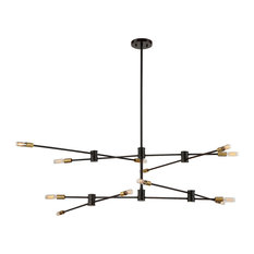 Lyrique 12-Light Chandelier, Bronze and Brass