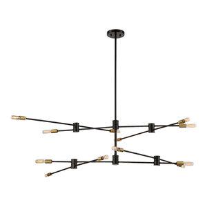 Lyrique 12-Light Chandelier, Bronze and Brass