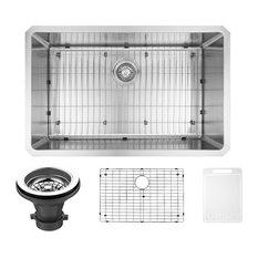 """VIGO 30"""" Mercer Stainless Steel Undermount Kitchen Sink, With Kitchen Sink, Grid"""