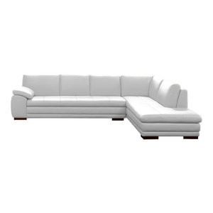 625 Modern Italian Leather Sectional by J&M, White, Right Facing Chaise