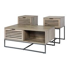 Walker Edison 3-Piece Engineered Wood Table Set In Modern Slat Door - Slate Gray